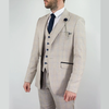 Beige Caridi Suit Tweed Check 3 Piece