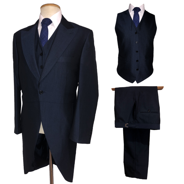 Mens Navy Suit Blue Mohair Wedding Tailcoat Tails Jacket Trousers Waistcoat 3 Piece