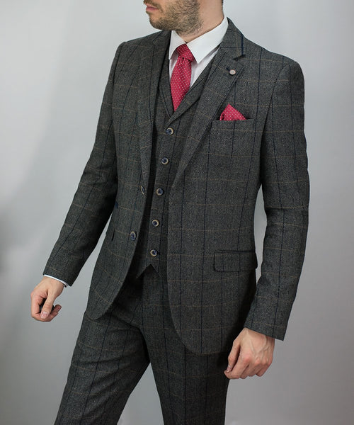 Grey Tweed Peaky Blinders Suit Check 3 Piece