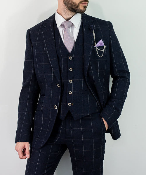 Navy Blue White Check Suit Check 3 Piece