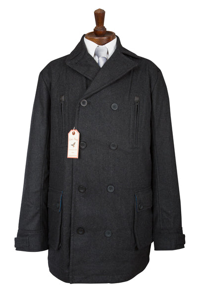MENS CHARCOAL GREY DARK CAR COAT COATS