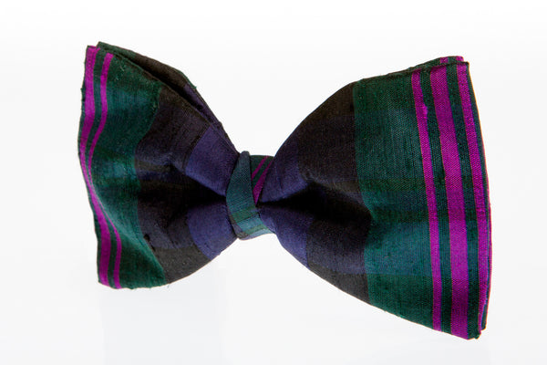 purple and green bow tie tartan silk burns night wedding