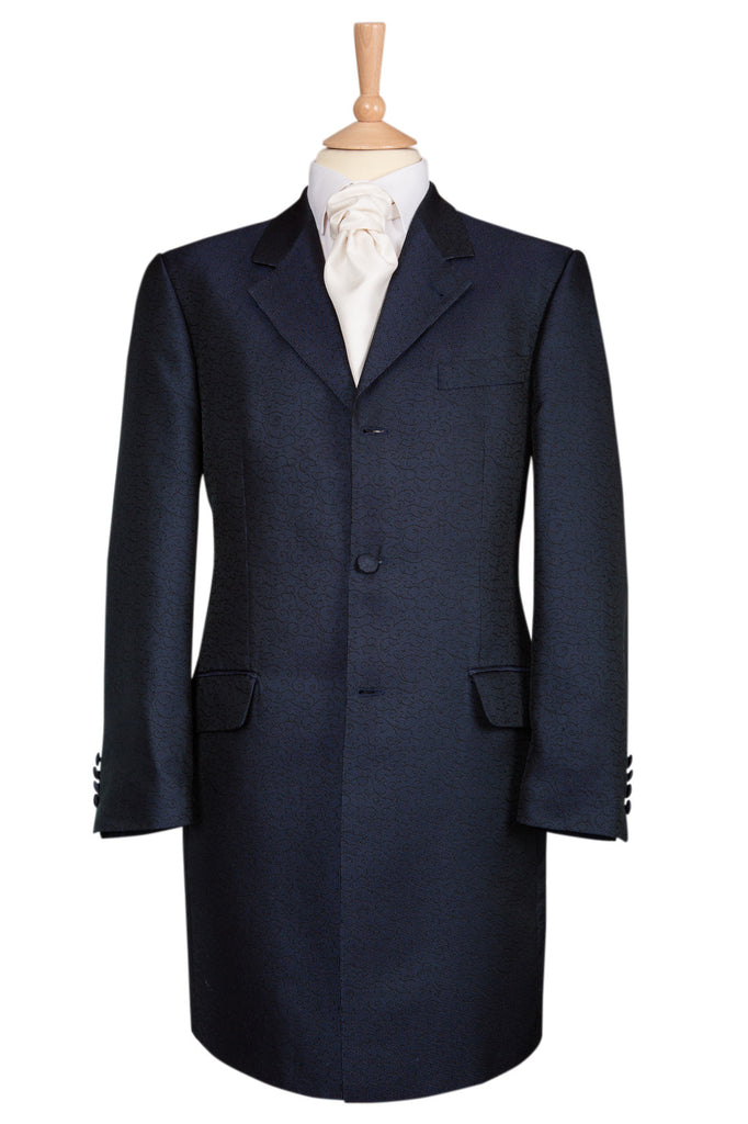 navy blue swirl prince edward jacket coat mens wedding fancy dress