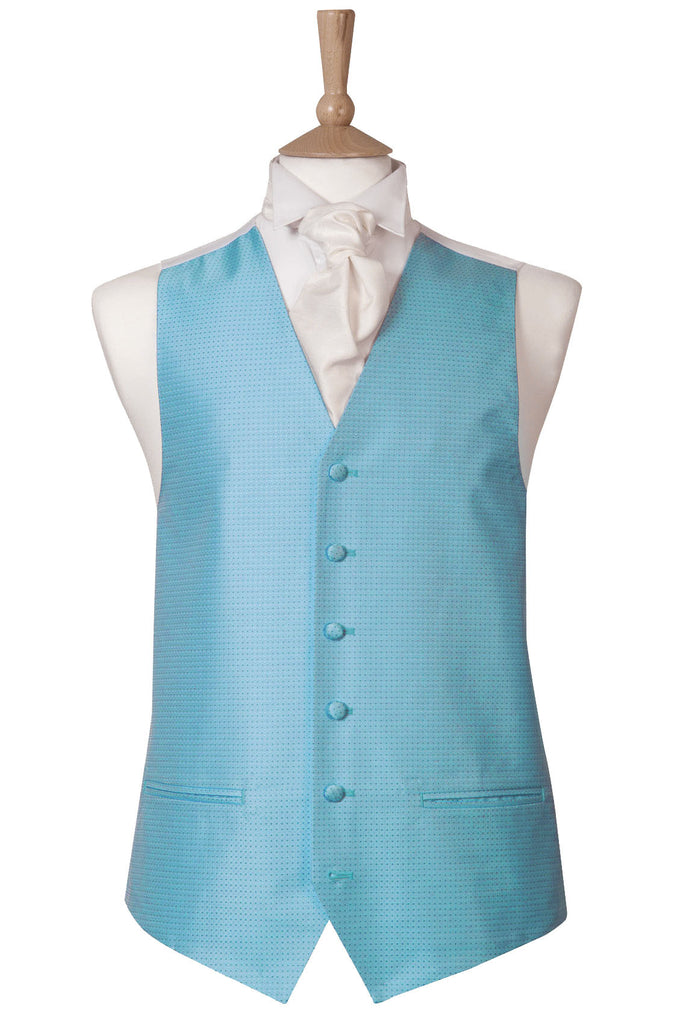 Blue Bright Sky Spot Waistcoat wedding