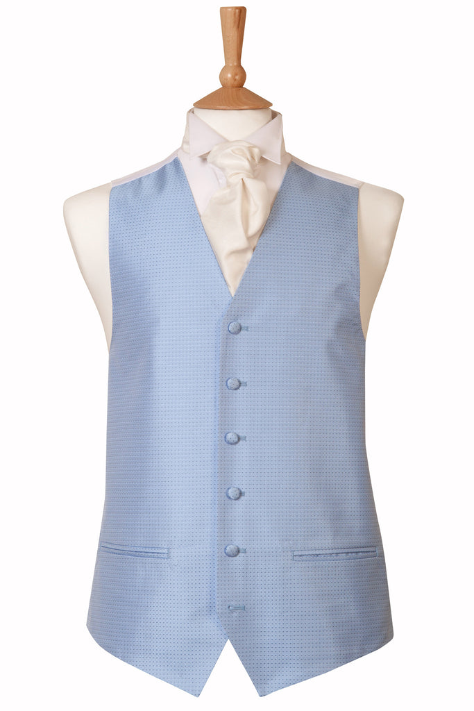 Baby blue spot detail waistcoat wedding formal mens pastel theme