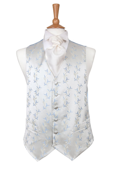 white satin waistcoat blue floral pattern wedding