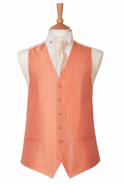 Striped Coral Pink Waistcoat Wedding