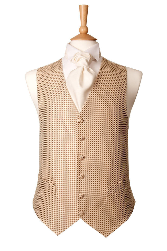 light brown check waistcoat smart cheap wedding rustic