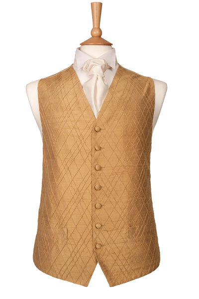 Gold check pattern waistcoat wedding silk luxury theme