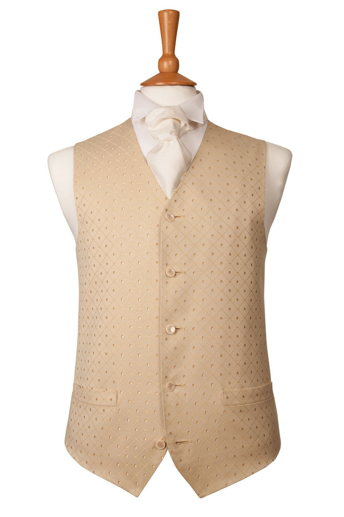 Champagne Gold Pattern Waistcoat Wedding