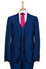 electric cobalt blue three piece suit men menswear interview wedding job