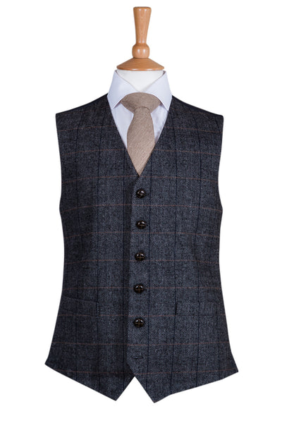 vintage check overcheck wool waistcoat wedding formal country