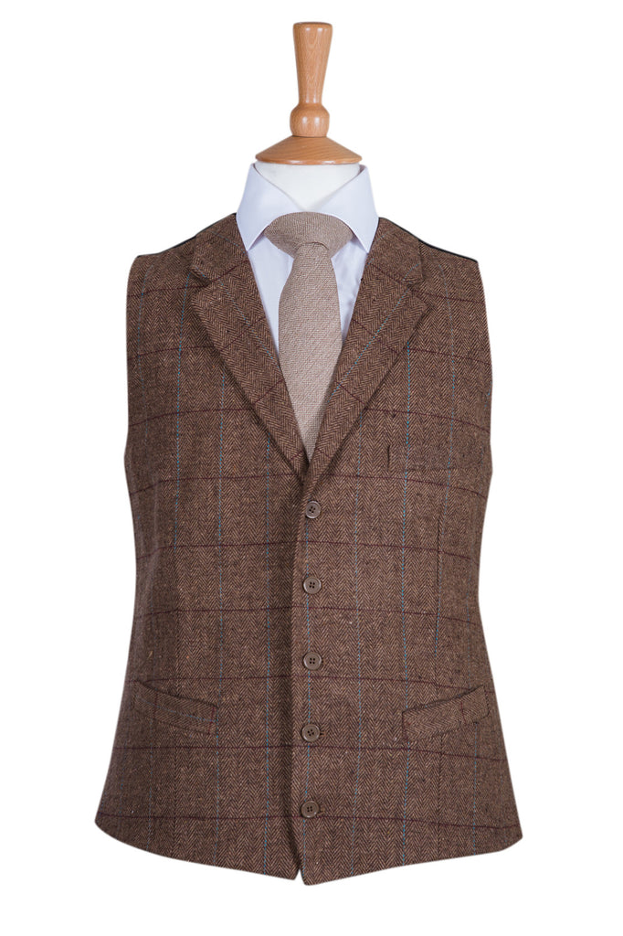 tweed rustic country wedding waistcoat brown equestrian