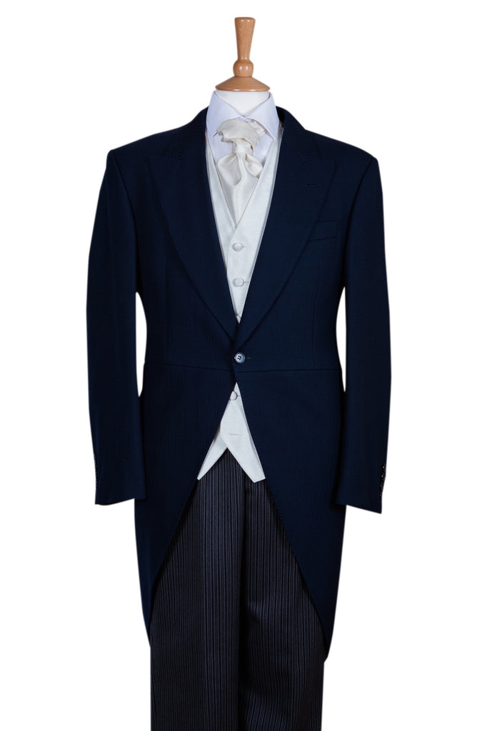 tail coat wool navy blue complete suit three piece