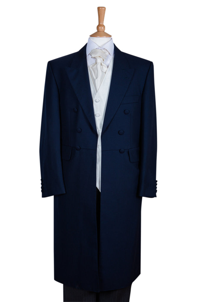 Three Piece Navy Blue Frockcoat, Waistcoat & Trousers - Ex Hire