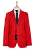 mens slim fit red blazer jacket white stripes style