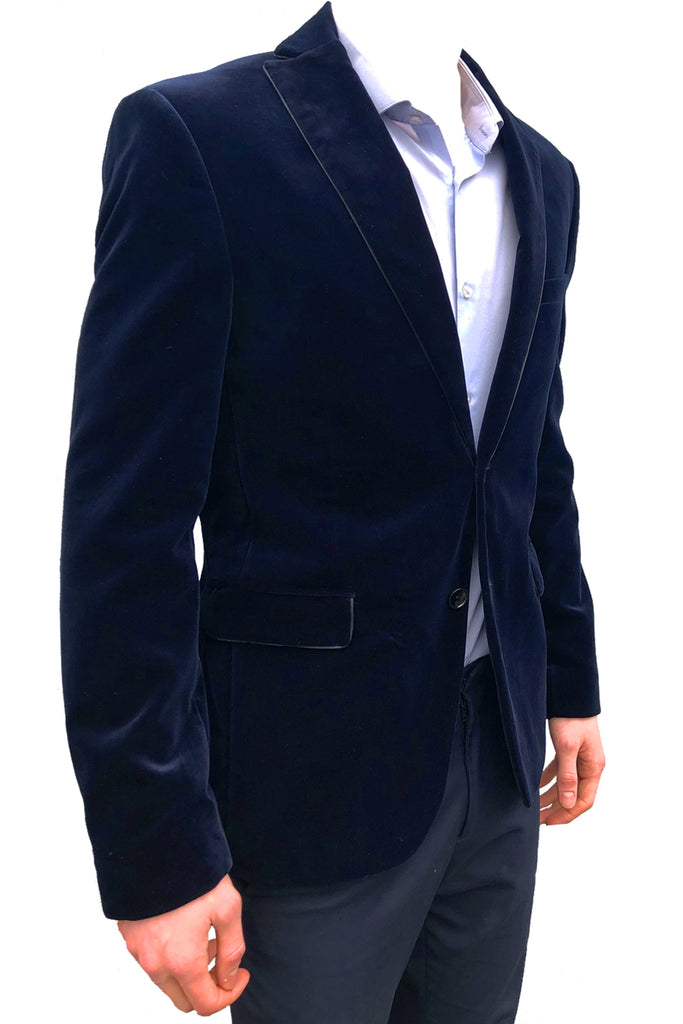 Slim Fit Deep Blue Velvet Jacket Tuxedo Blazer