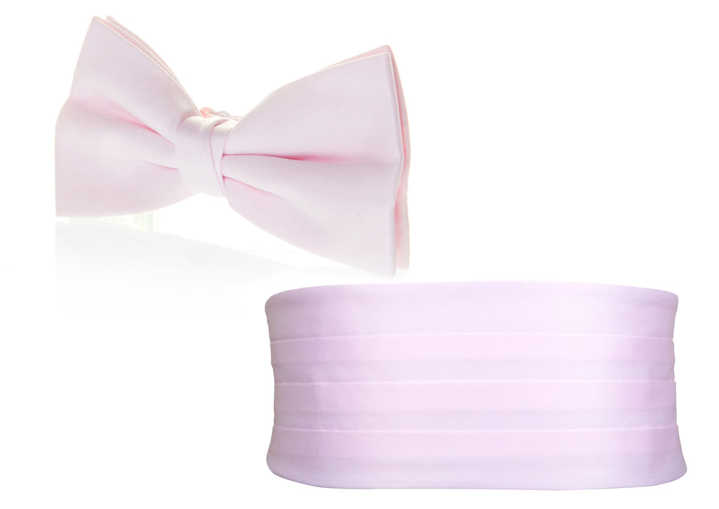 blush pink light bow tie cummerbund formal tux wedding party mens