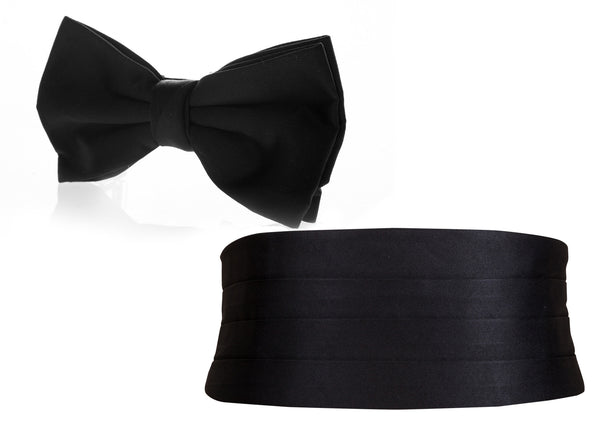 bow tie black cummerbund set formal Occassion wear mens wedding attire