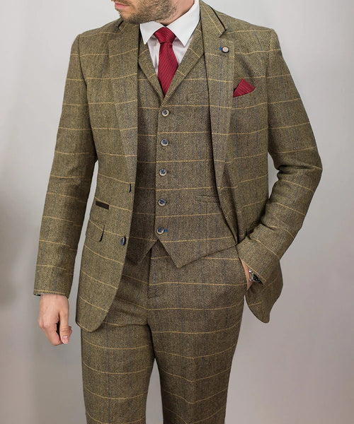 Brown Tweed Peaky Blinders Suit Check 3 Piece