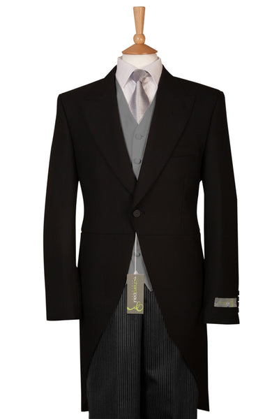 black tailcoat suit outfit for races weddings Ascot formal mens suit