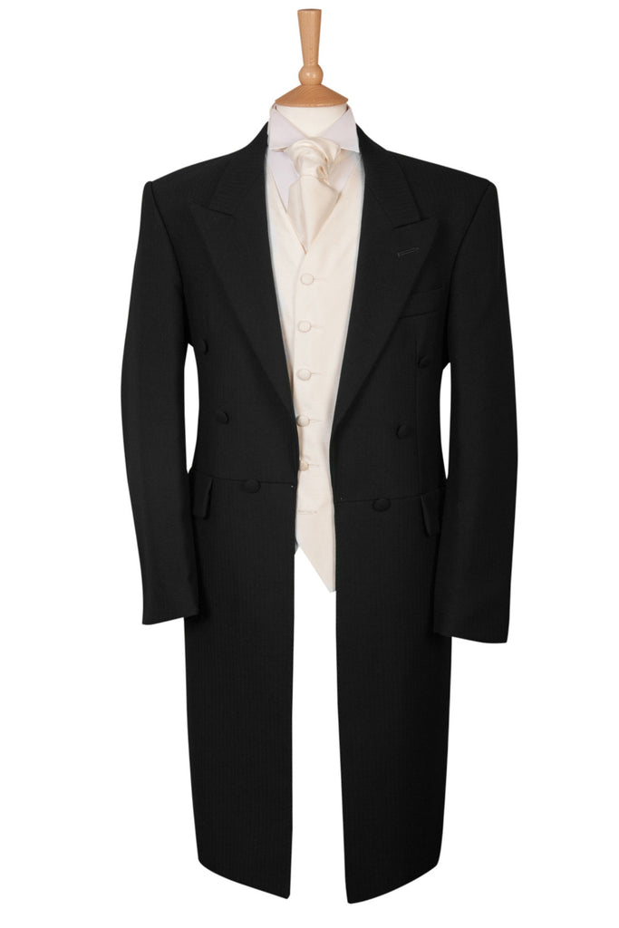 Black Wool Herringbone Frock Coat Mens Formal Wear Ex Hire Bargain Ascot Race Day