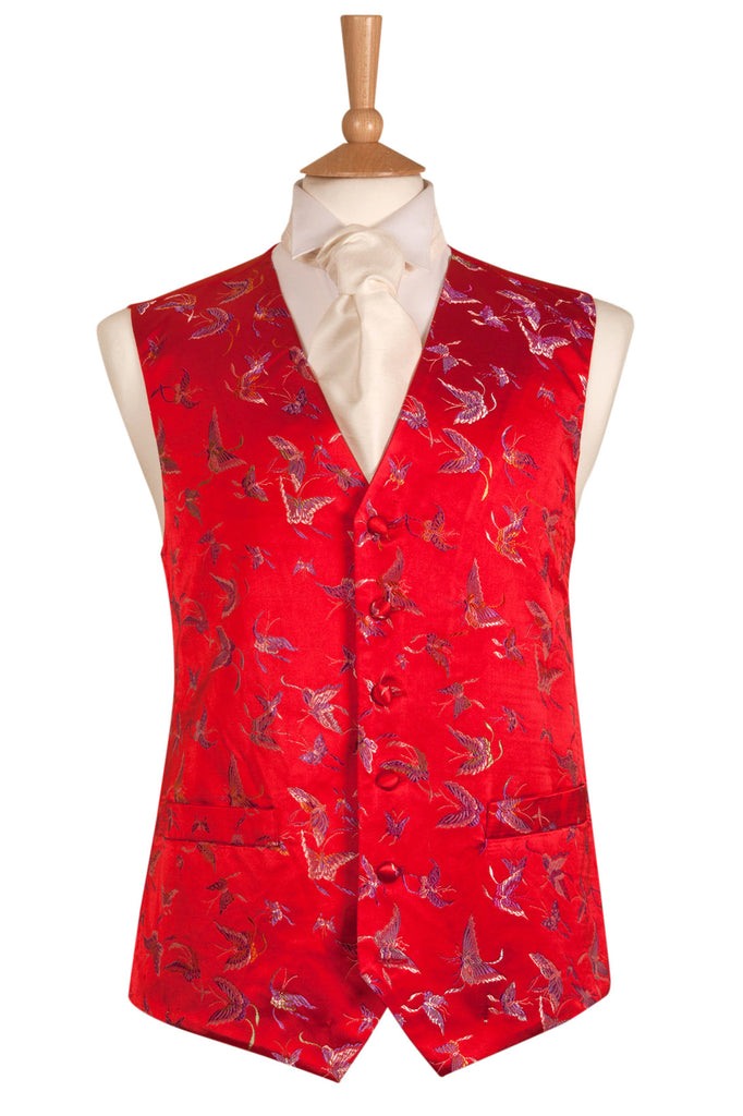 red embroidered butterfly waistcoat satin pretty
