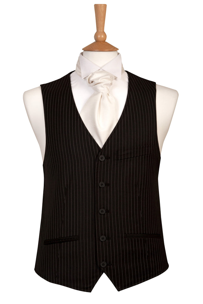 Black Pinstripe Waistcoat wedding funeral smart casual
