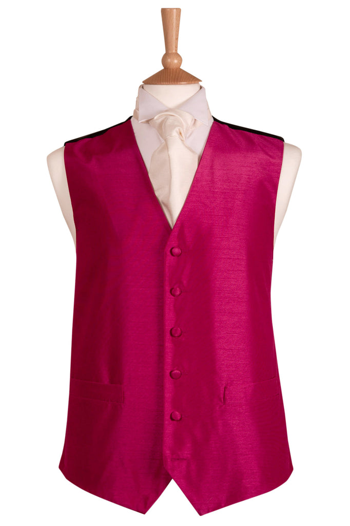 raspberry hot pink plain waistcoat mens wedding formal wear