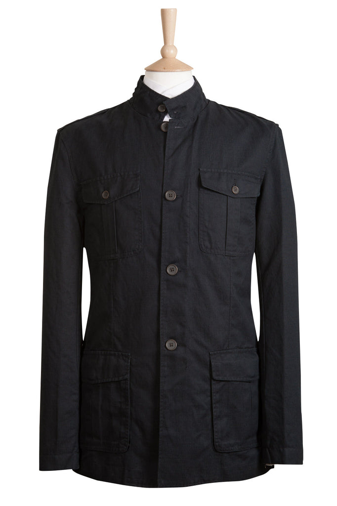 casual dark navy blue linen military utility jacket coat