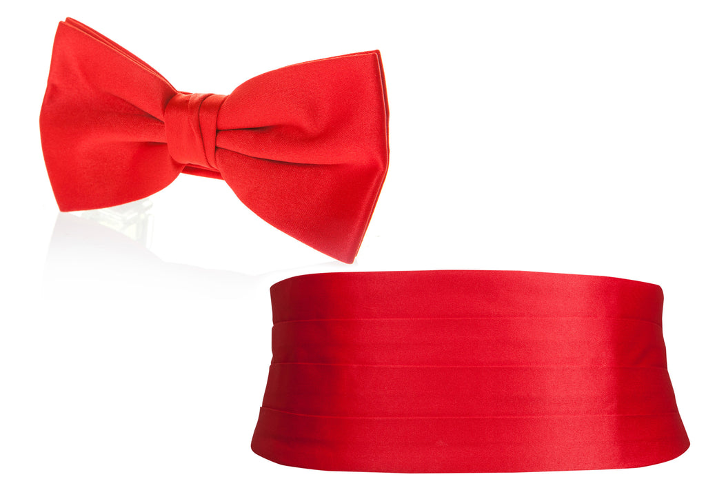 bright red cummerbund and bow tie mens formal wear