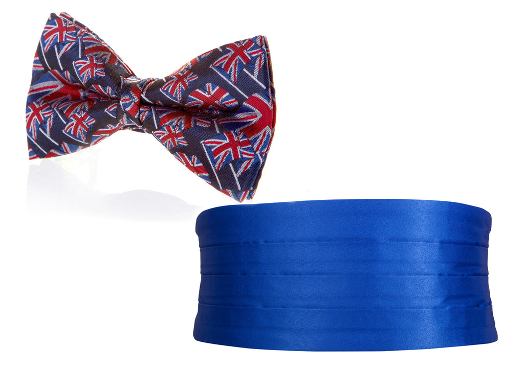 union jack bow tie and cummerbund set mens