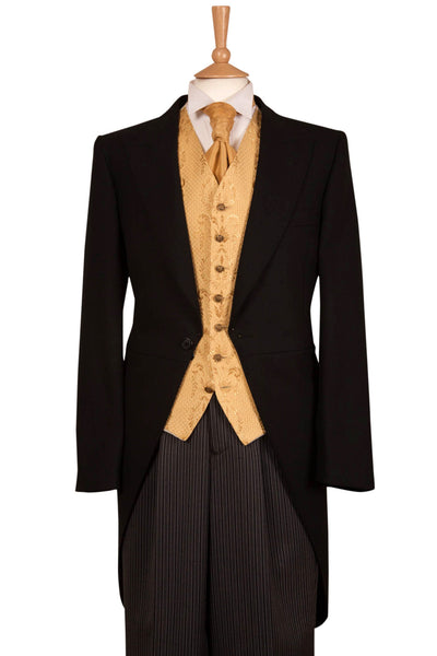 Five Piece Black & Gold Tailcoat Wedding Suit Hire