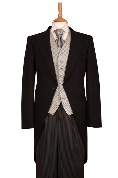 Five Piece Black & Silver Tailcoat Wedding Suit Hire