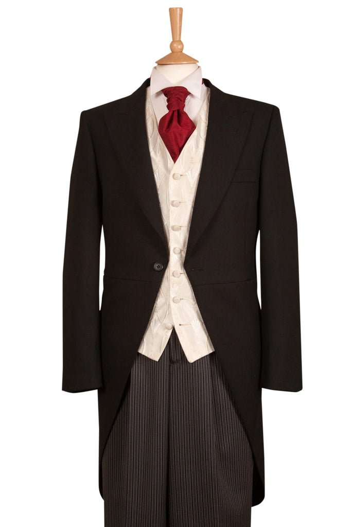 Five Piece Black, Ivory & Red Tailcoat Wedding Suit Hire