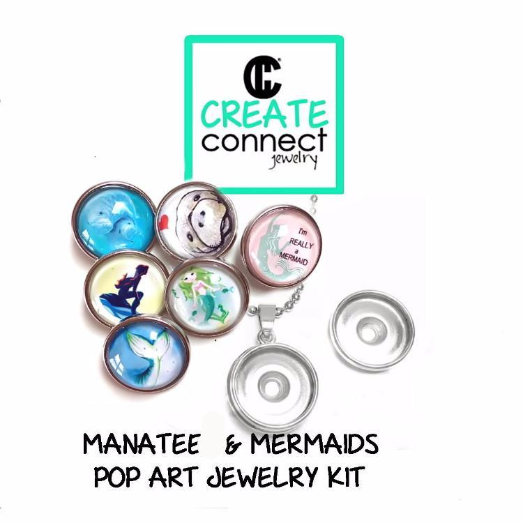 Snap Necklace Pop Art Jewelry Kit - Manatee and Mermaids