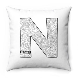Color A Pillow Coloring Book Pillow INITAL and Custom NAME
