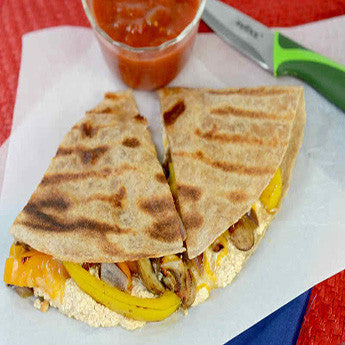 HIGH PROTEIN CHIPOTLE CHEDDAR VEGETARIAN QUESADILLA RECIPE