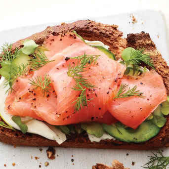 SMOKED SALMON AND CUCUMBER TOAST