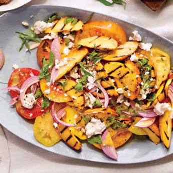 GRILLED PEACH AND HEIRLOOM TOMATO SALAD