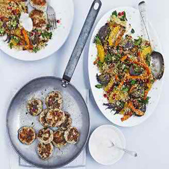 SPICED TURKEY PATTIES WITH FRUITY QUINOA SALAD