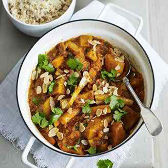 WINTER VEGETABLE CURRY WITH FRUITY RAITA