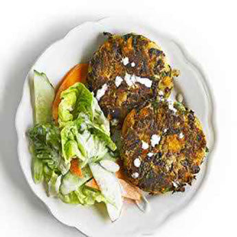 SMOKY SWEET POTATO & BEAN CAKES WITH CITRUS SALAD