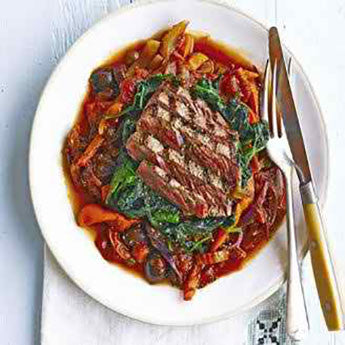 SEARED STEAK WITH CELERY & PEPPER CAPONATA