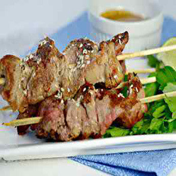 SESAME CRANBUTTER SIRLOIN STEAK TIP SKEWERS RECIPE