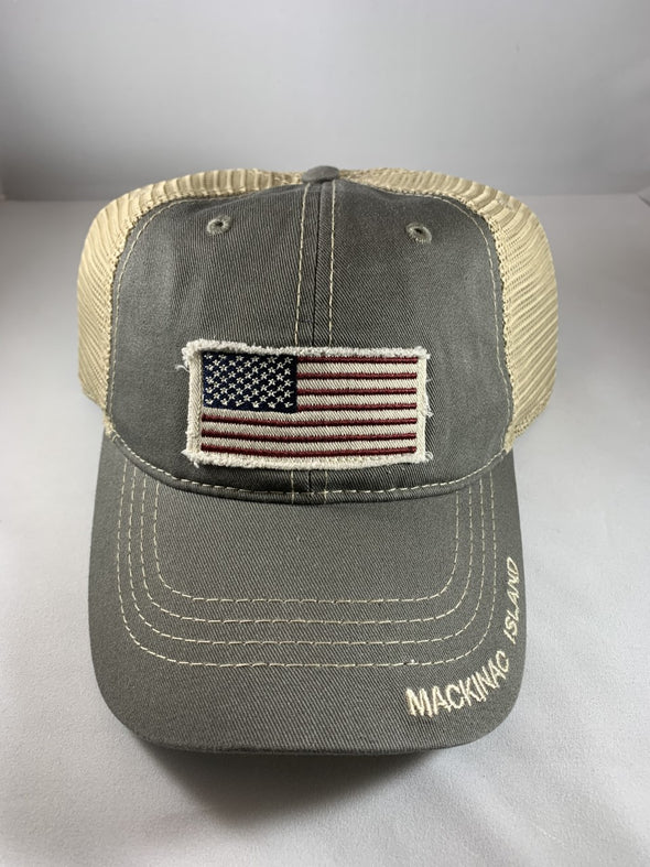 Flag patch cap w/mesh back
