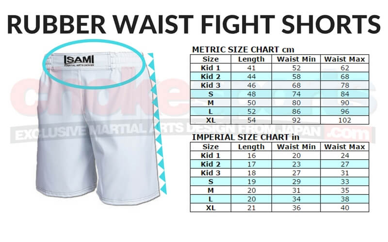 IB-22 Fight Shorts Size Chart