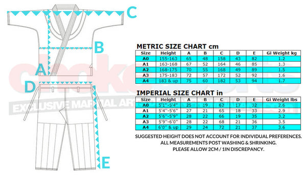 Isami Reversal BJJ Gi Sizes