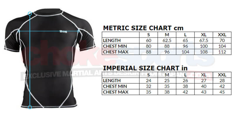 ChokeSports Isami Matex Rash Guard Sizes