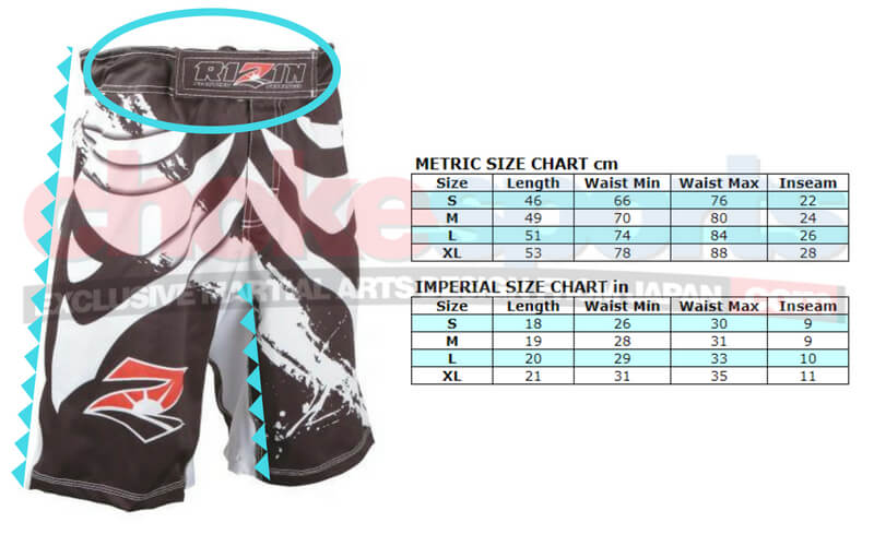 Rizin MMA Fight Shorts size chart